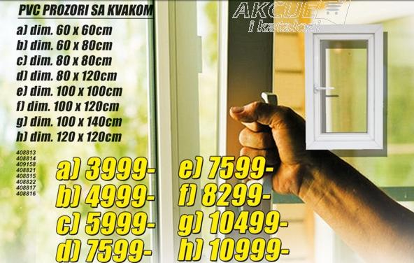 Prozor PVC sa kvakom 80x80cm