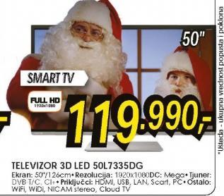 Televizor 3D LED Smart TV 50L7335DG