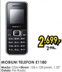 Mobilni telefon E1180 SILVER