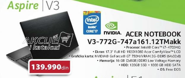 Notebook Aspire V3-772g-747a161.12tmakk