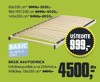 Podnica Basic A40 70x200 cm