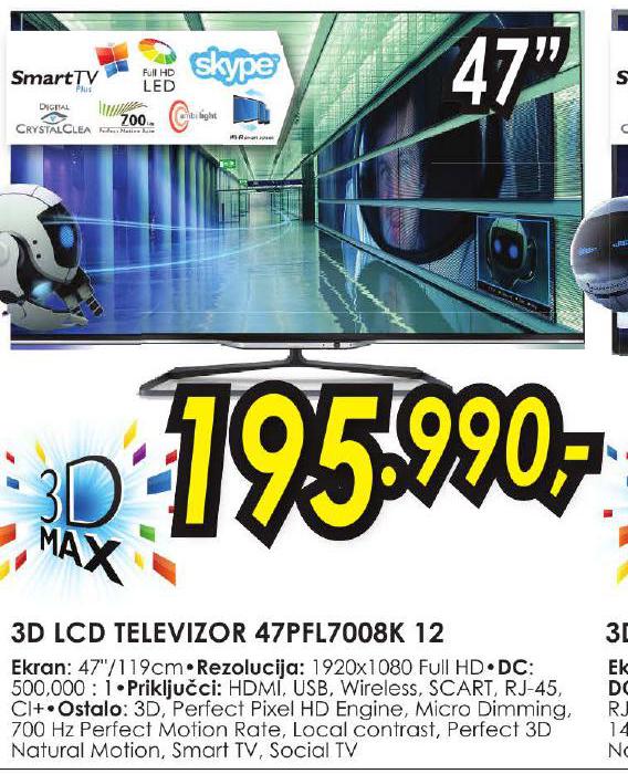 3D LCD Televizor 47PFL7008K 12