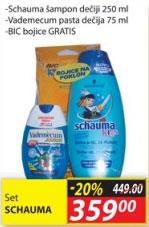 Set Schauma šampon dečji 250 ml + Vademecum pasta dečja 75 ml + BIC bojice gratis