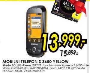 Mobilni telefon S3650 Yellow
