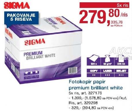 Fotokopir papir Premium briliant white ris
