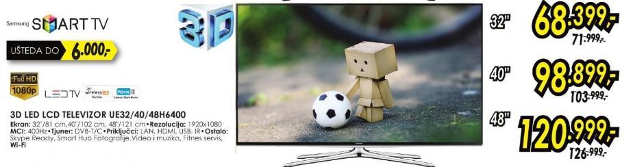 """Televizor LED 32"""" 3D Ue32h6400"""