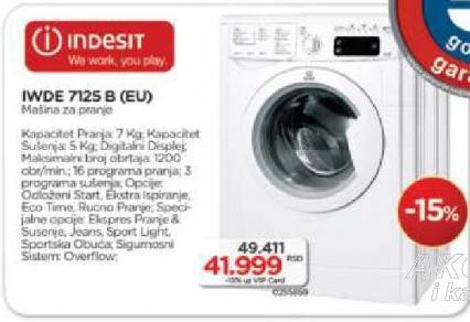 Mašina Za Pranje I Sušenje Veša IWDE 7125 B