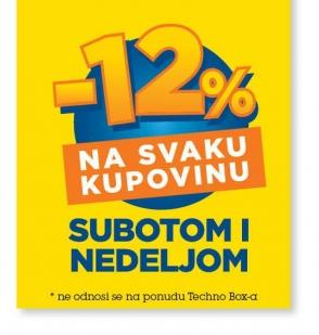 Na svaku kupovinu -12% Subotom i Nedeljom
