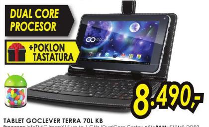 Tablet GoClever TERRA 70L KB + Poklon tastatura