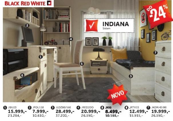 Komoda Jkom4s/80 Indiana Black Red White