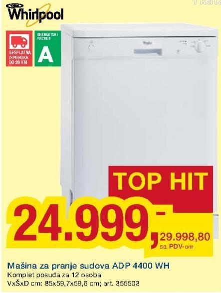 Mašina za pranje sudova Adp 4400 Wh