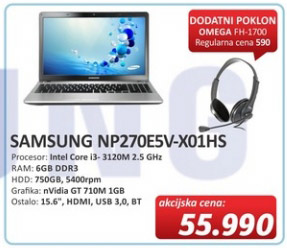 Laptop NP270E5V-X01HS + poklon Omega FH1700 slušalice