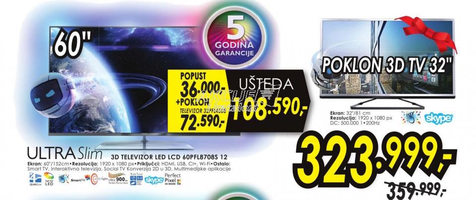 Televizor 3D LED LCD 60PFL8708S/12
