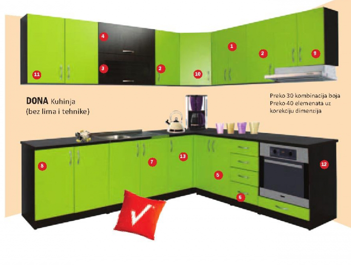 Kuhinjski element V60A, viseći, kuhinja DONA