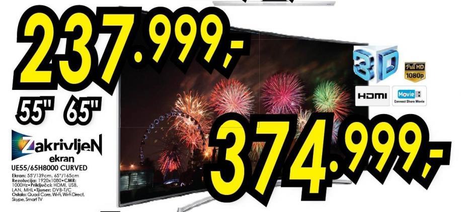 "Televizor LED 55"" 3D Ue55h8000 Curved"