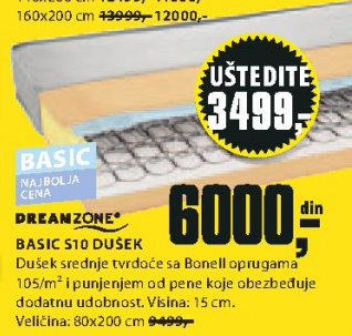 Dušek Basic S10, 80x200cm