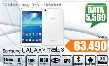 Tablet Samsung Galaxy Tab 3, 8'',16GB