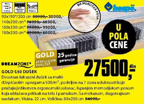 Dušek, Gold S50 140x200 cm