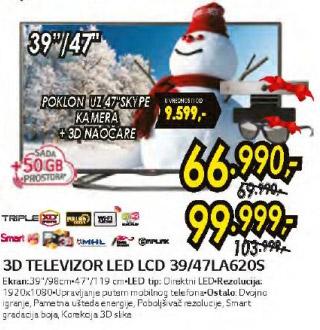 3D LED televizor 39LA620S + poklon Skype kamera i 3D naočare