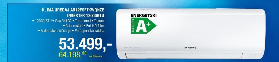 Klima uređaj AR12FSFTKWQNZE inverter