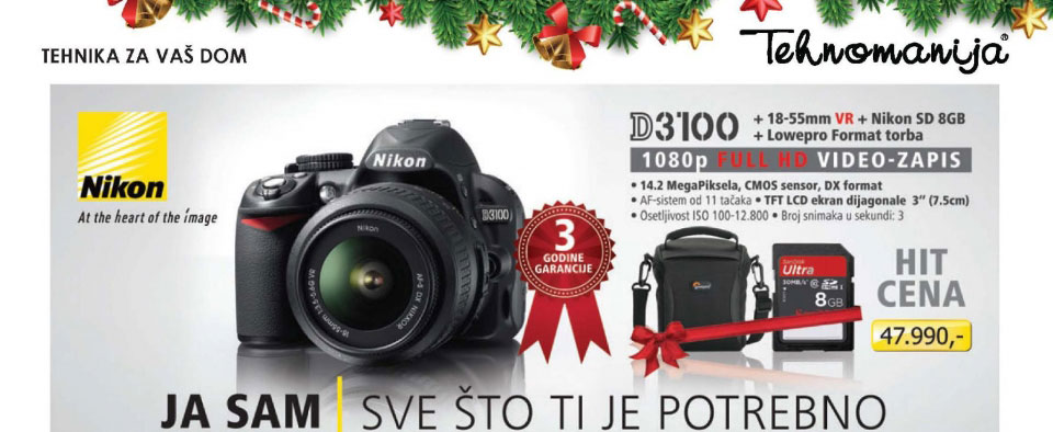 Digitalni SLR fotoaparat D3100 SET 18-55VR + SD8GB i torbica