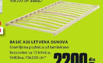 Podnica Basic A20, 70x200cm, letvena osnova
