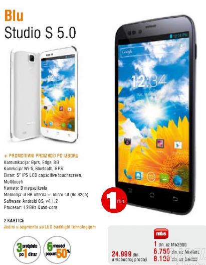 Mobilni telefon Blu, STUDIO S 5.0