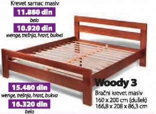 Bračni krevet Woody 3 belo