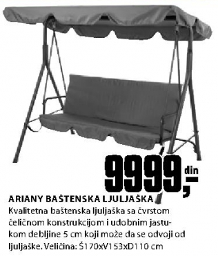 Bašt. ljuljaška ARIANY 170x110 čel/poli