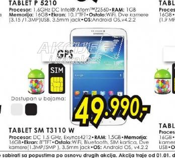 Tablet Galaxy Tab 3 SM-T3110 W