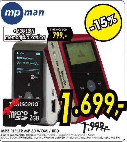 MP3 plejer MP30WOM/RED