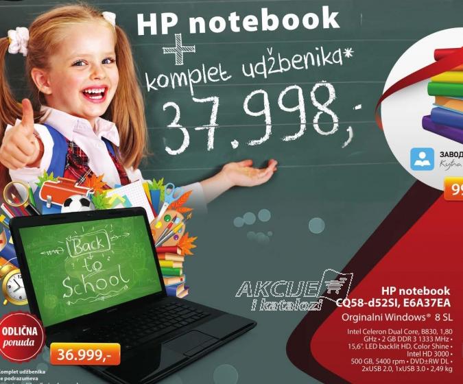 Hewlett-Packard laptop Compaq CQ58-D52SI E6A37EA + Komplet udžbenika