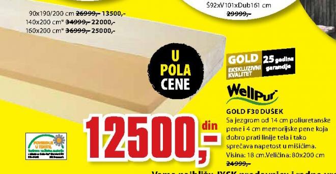 Dušek, Gold F30 80x200 cm