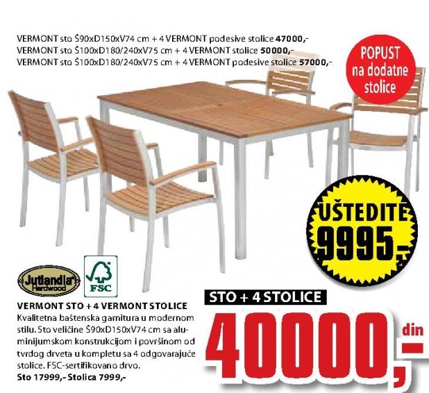 VERMONT sto D240cm+4 VERMONT stolice