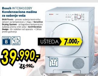 Kondezaciona mašina za sušenje veša WTC84102BY