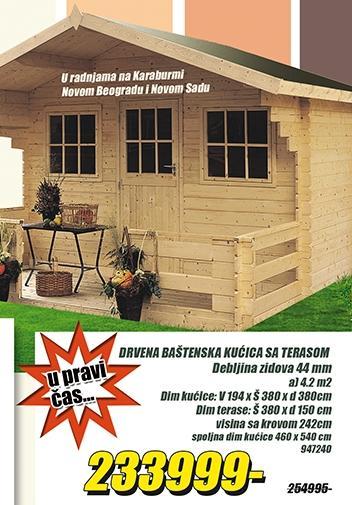 Drvena baštenska kućica sa terasom