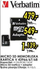 Micro SD memorijska kartica 4GB V 43966