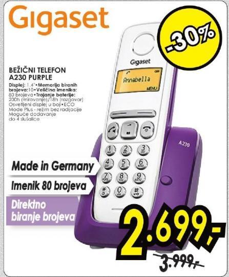 Bežični telefon Gigaset A230 Purple