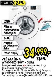 Veš mašina Wf60f4e0n0w-Slim + Poklon pegla Fv3830