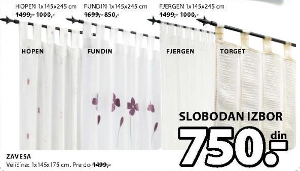 Zavesa Fundin 1x145x245cm