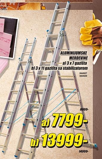 Aluminijumske merdevine 3x11 gazišta