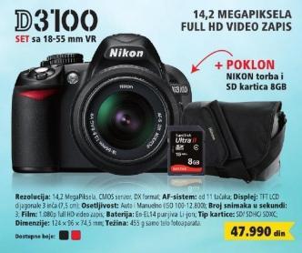 Digitalni fotoaparat D3100 set sa sa 18-55 mm VR + Poklon Nikon torba i SD kartica 8GB
