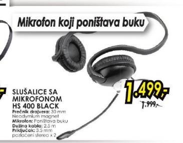 Slušalice sa mikrofonom HS 400 Black Creative
