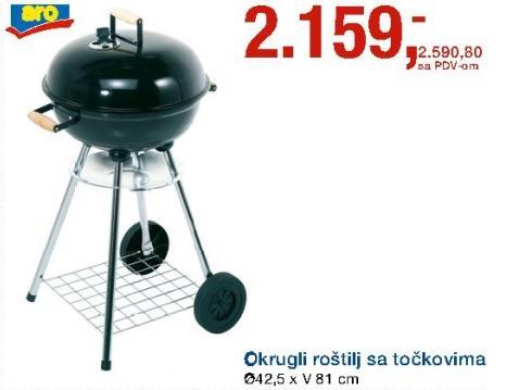 Okrugli metalni roštilj sa točkovima