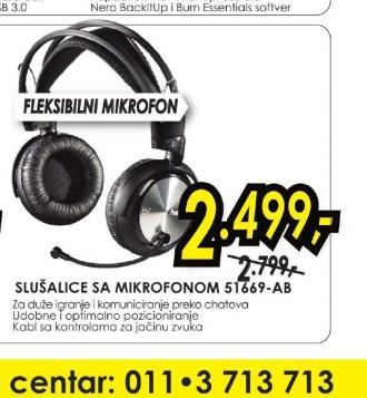 Sslušalice sa mikrofonom 51669-AB