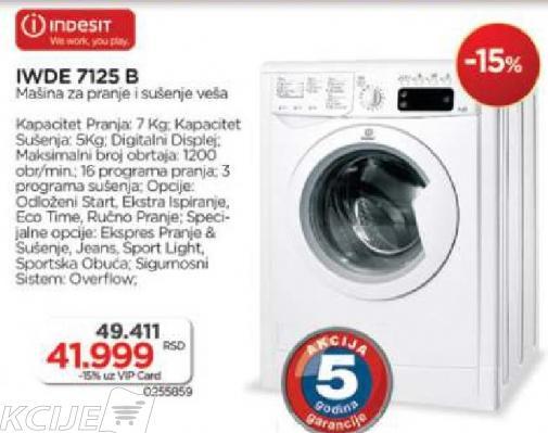 Mašina za pranje i sušenje Indesit IWDE 7125B