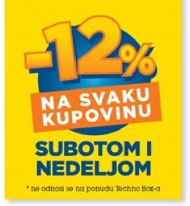 12% popusta na svaku kupovinu subotom i nedeljom
