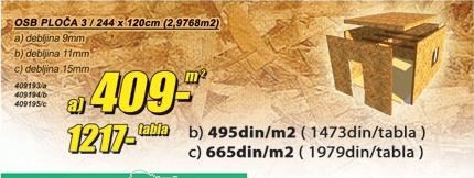 OSB ploča 3 / 244 x 120 cm (2,9766m²)
