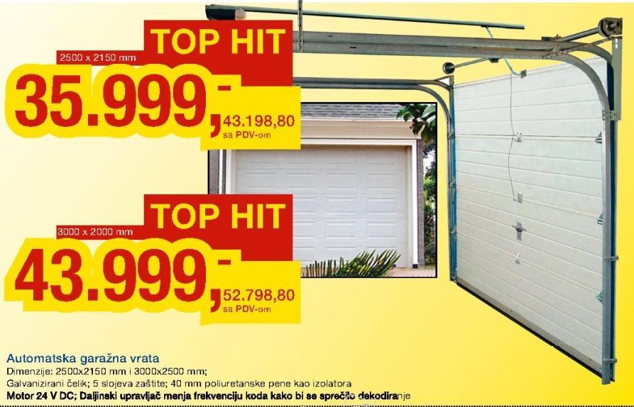 Automatska garažna vrata 2500 x 2150 mm
