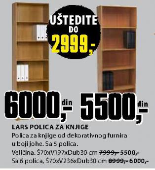 Polica za knjige Lars sa 6 polica